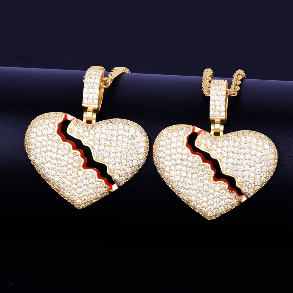 Broken Heart .925 Silver 14k Gold Red Oil Bling Pendant Chain Necklace