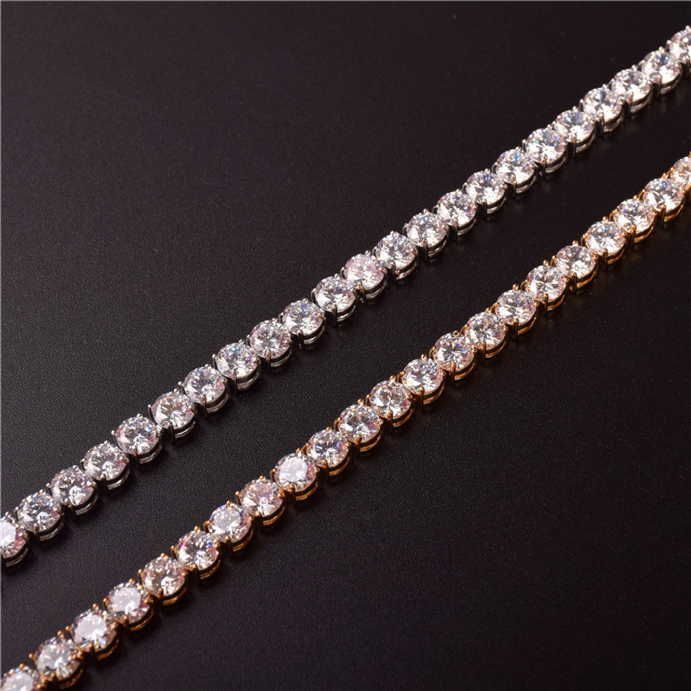 Rose 24k Gold Silver AAA Cluster Stone Hip Hop 1 Row Iced Tennis Bracelet