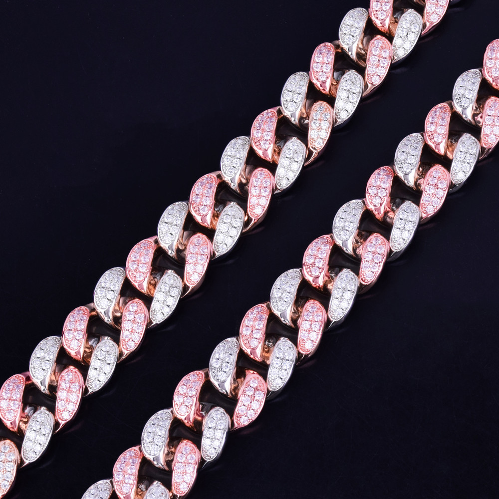 Silver Rose Gold 20mm Heavy Iced Micro Pave Lab Diamond Miami Cuban Chain Necklace