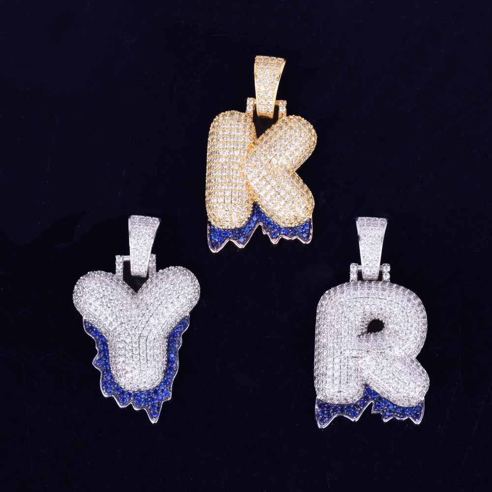 AAA Micro Pave Custom Name Blue Dripping Bubble Letters Hip Hop Pendant Chain Necklaces