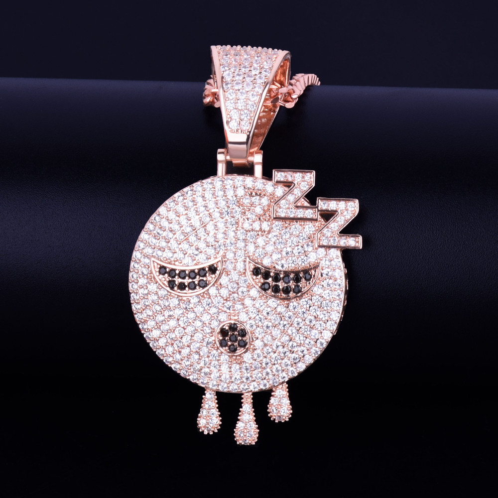 Sleeping Emoji Dripping Face Hip Hop Mico Pave AAA True Micro Pave 18k Rose Gold Silver Pendant