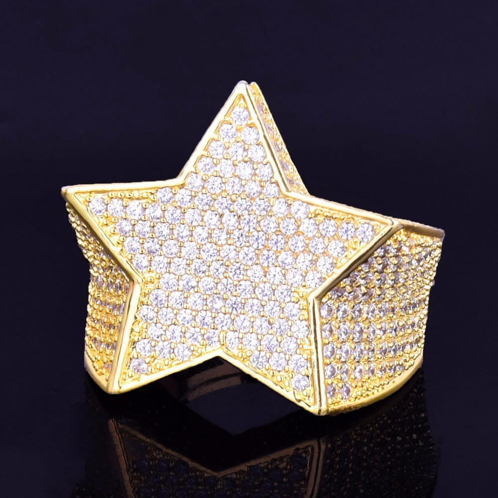 Hip Hop Five Star Men's 18k Gold Silver Flooded Ice AAA Micro Pave Ring