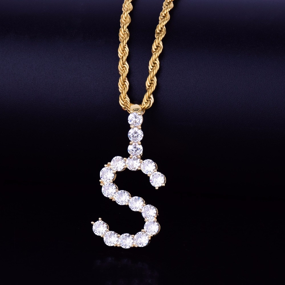 18k Gold .925 Silver Rose Gold AAA Cluster Stone Tennis Letters Hip Hop Chain Necklaces