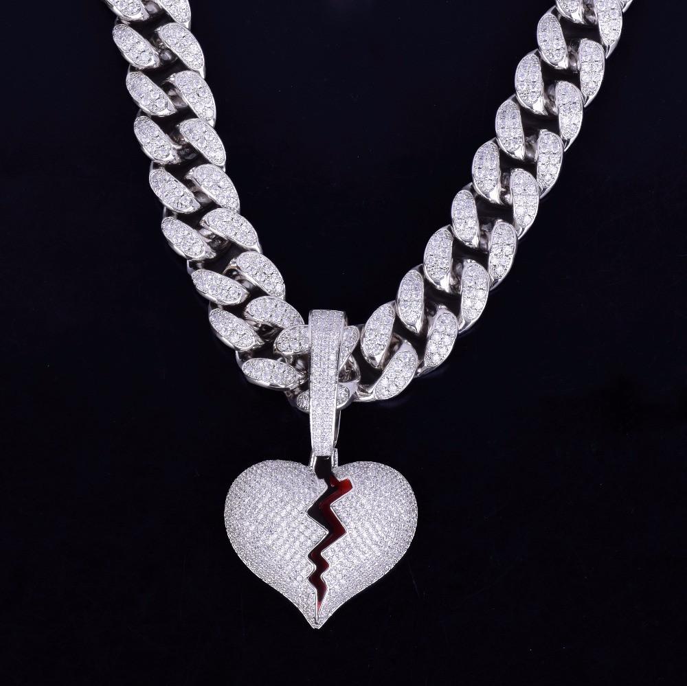 20MM Cuban Link 14k Gold Silver Broken Heart Pendant Hip Hop Chain Necklcae
