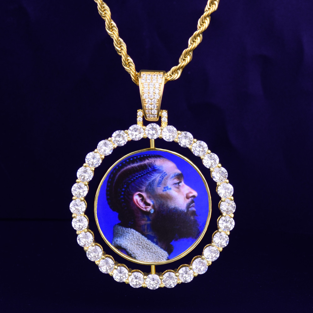 Custom Made Aaa True Micro Pave Iced Photo Rotating Double Sided Bling Pendant Chain Necklace Bling Jewelz
