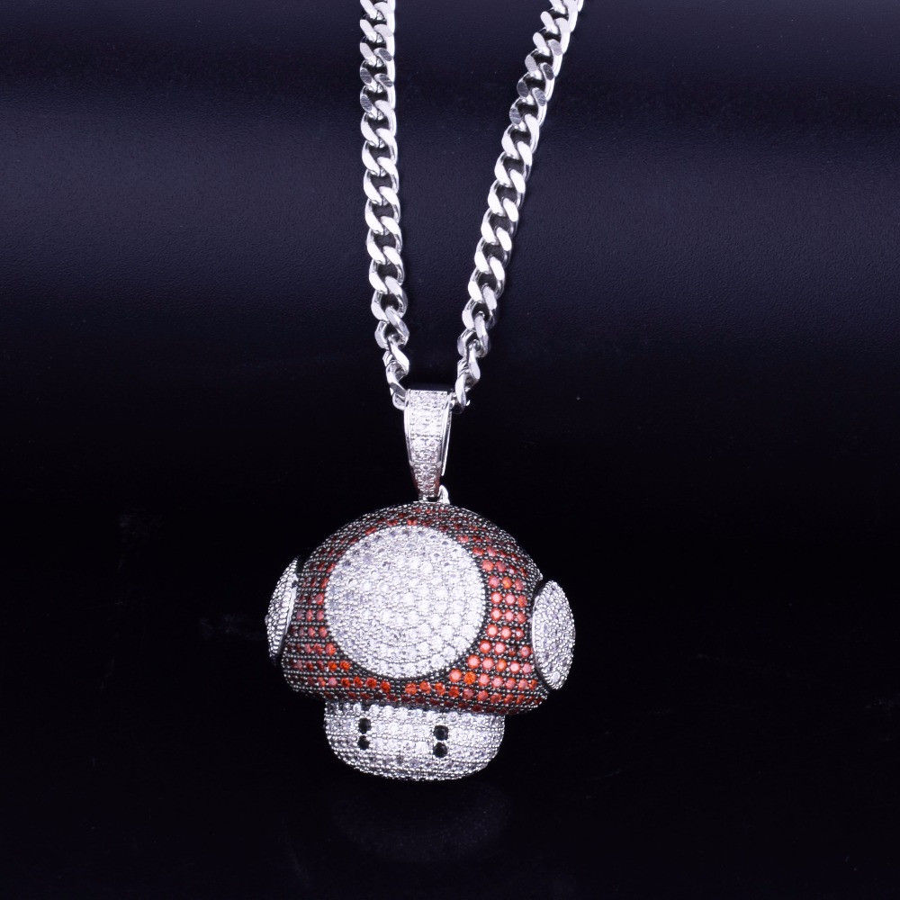 Mario Mushroom AAA True Micro Pave 18k Gold .925 Silver Bling Bling Chain Pendant Necklace