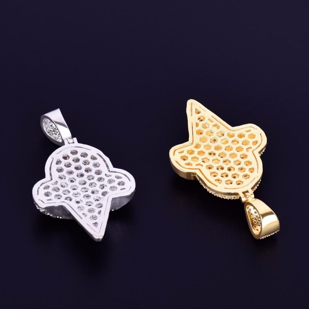 Rose Gold Silver 14k Gold Ice Cream Cone Lab Diamond Hip Hop Pendant