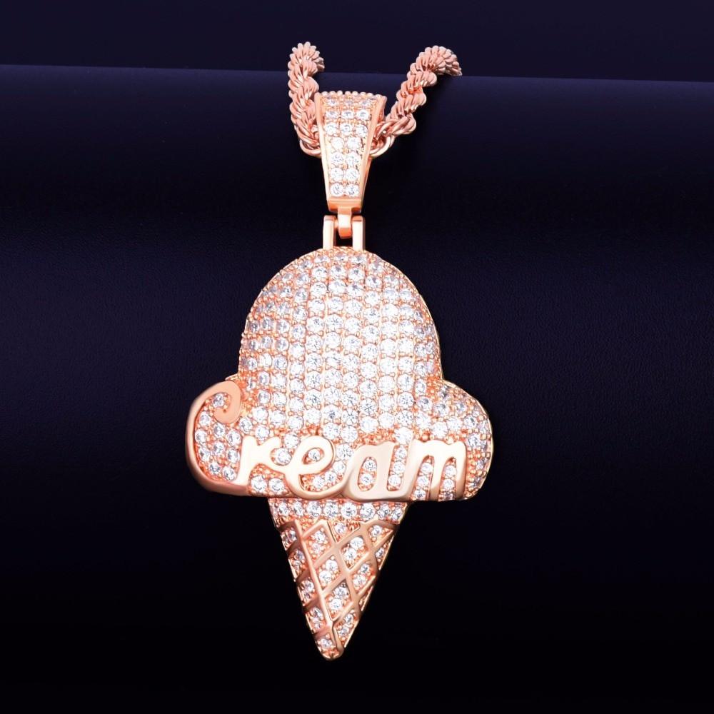 Cream Cone Pendant Gold