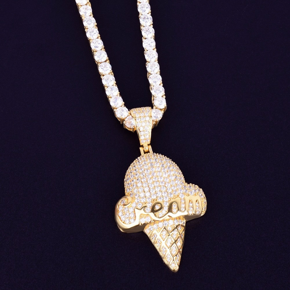 Iced Tennis Chain Cream Cone Pendant