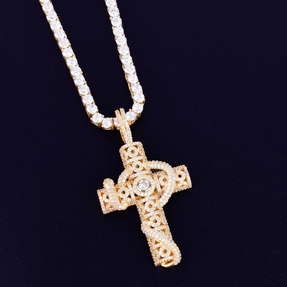 Gold Snake Cross Pendant