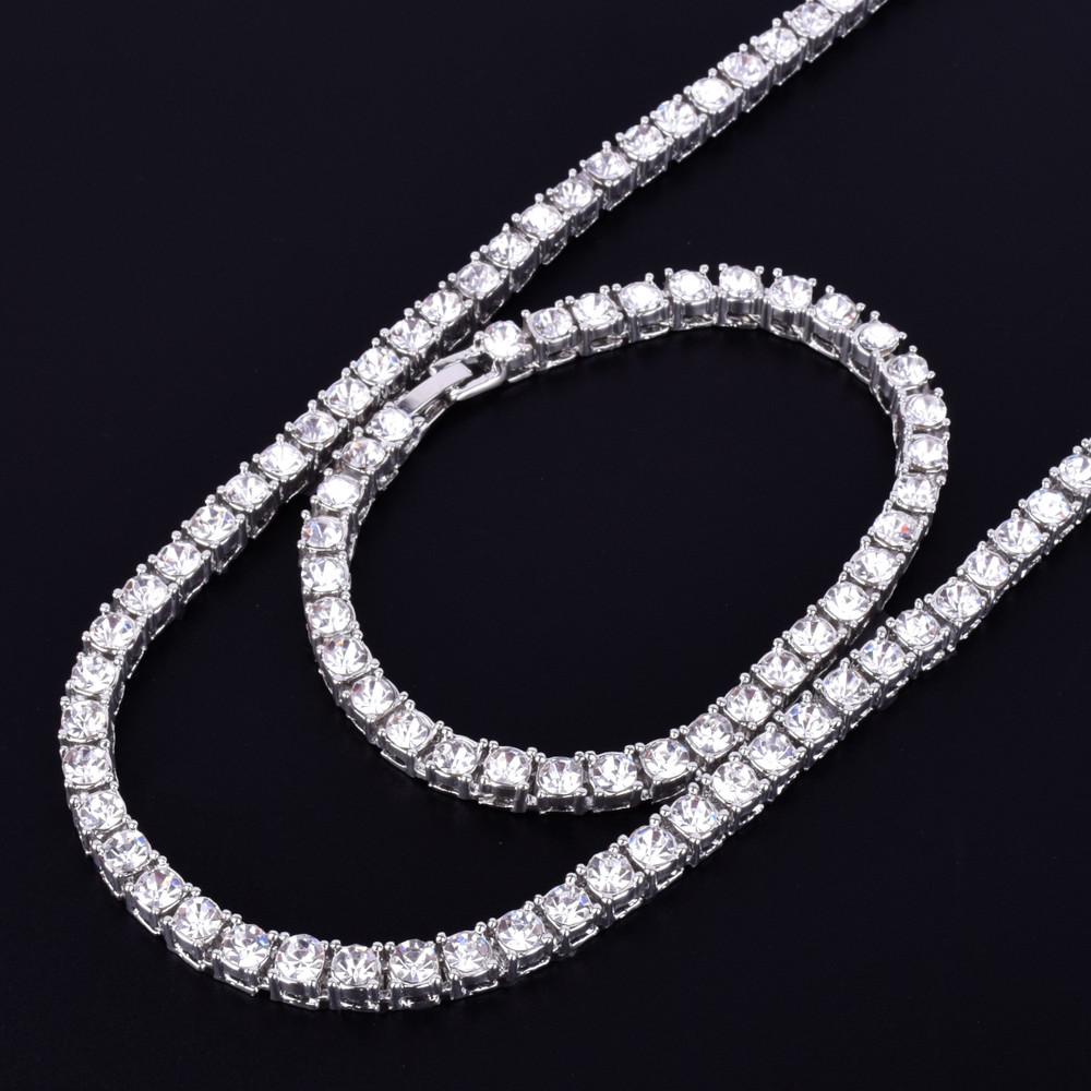 a9d7633f3e0a7 1 Row 5mm Lab Diamond Hip Hop Tennis Chain Necklace Bracelet Set