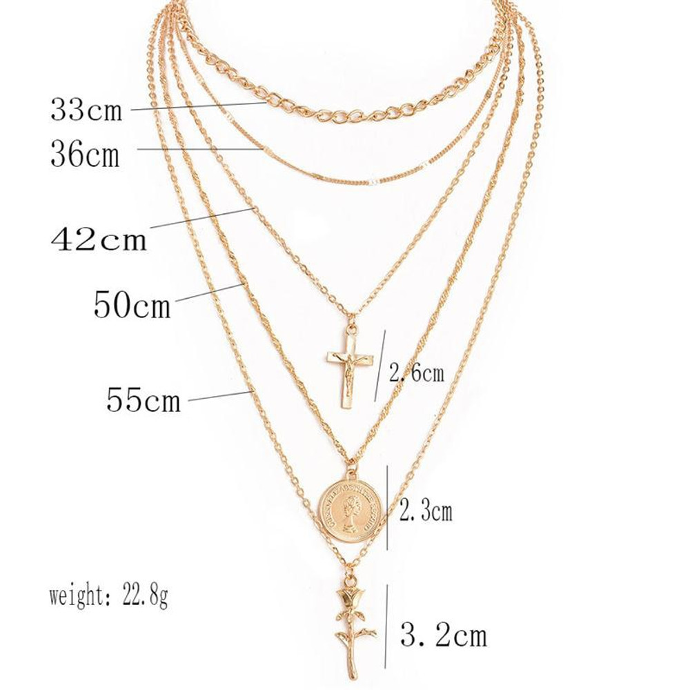 Womens Bohemian Retro Cross Rose 14k Gold GP Clavicle Multilayer Chain Necklace Pendant Set