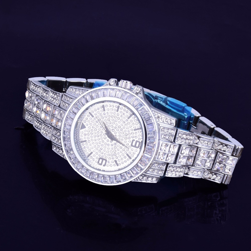 Mens Lab Diamond Luxury Baguette Iced 925 Silver Stainless Steel Bling Watch
