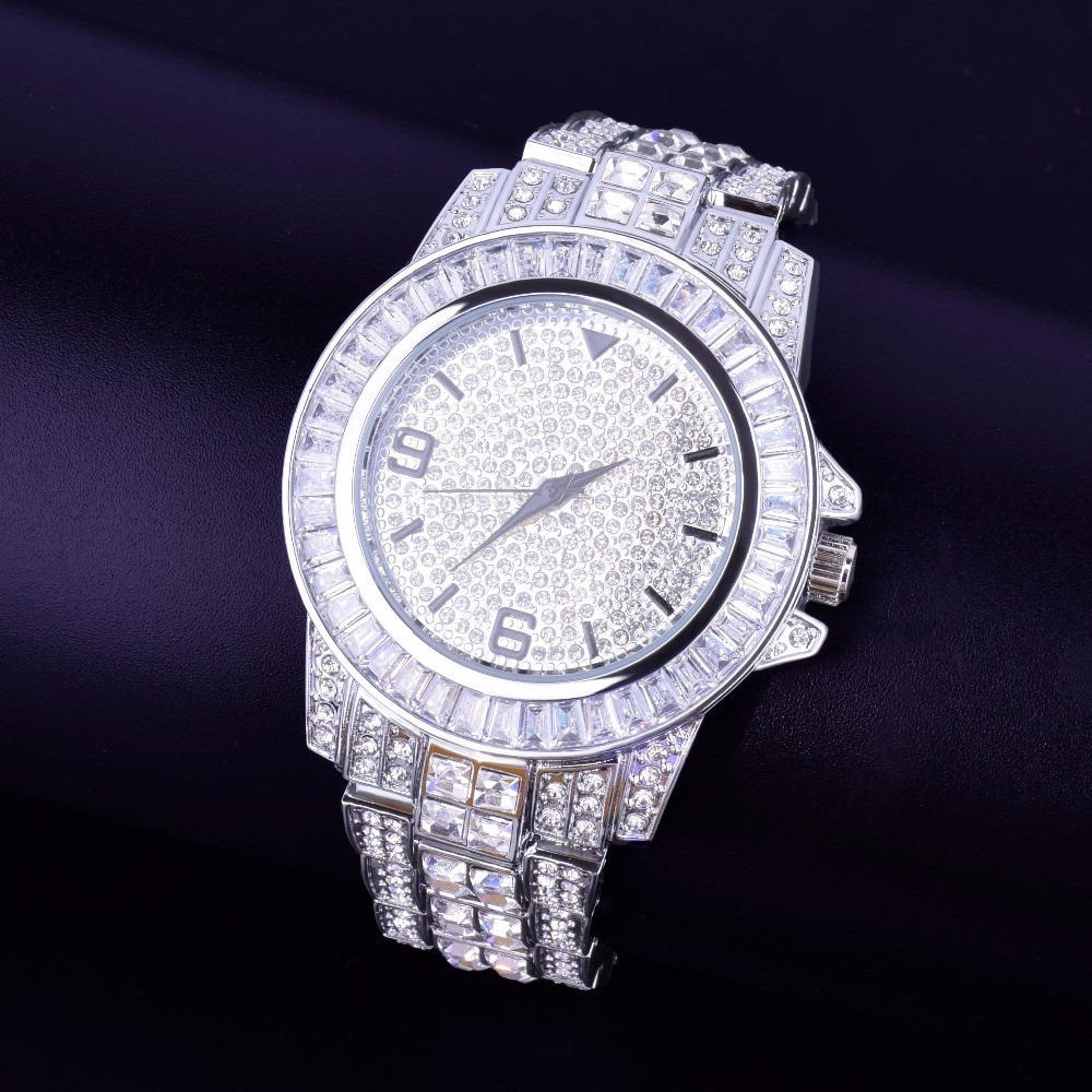 Silver Baguette Iced Bling Watch