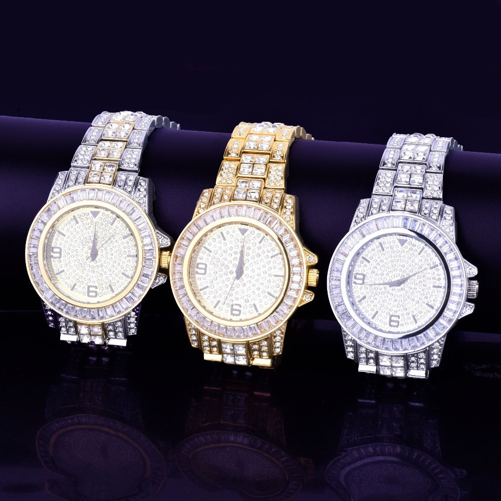Mens Lab Diamond Luxury Baguette Iced Gold Silver Stainless Steel Bling Watch