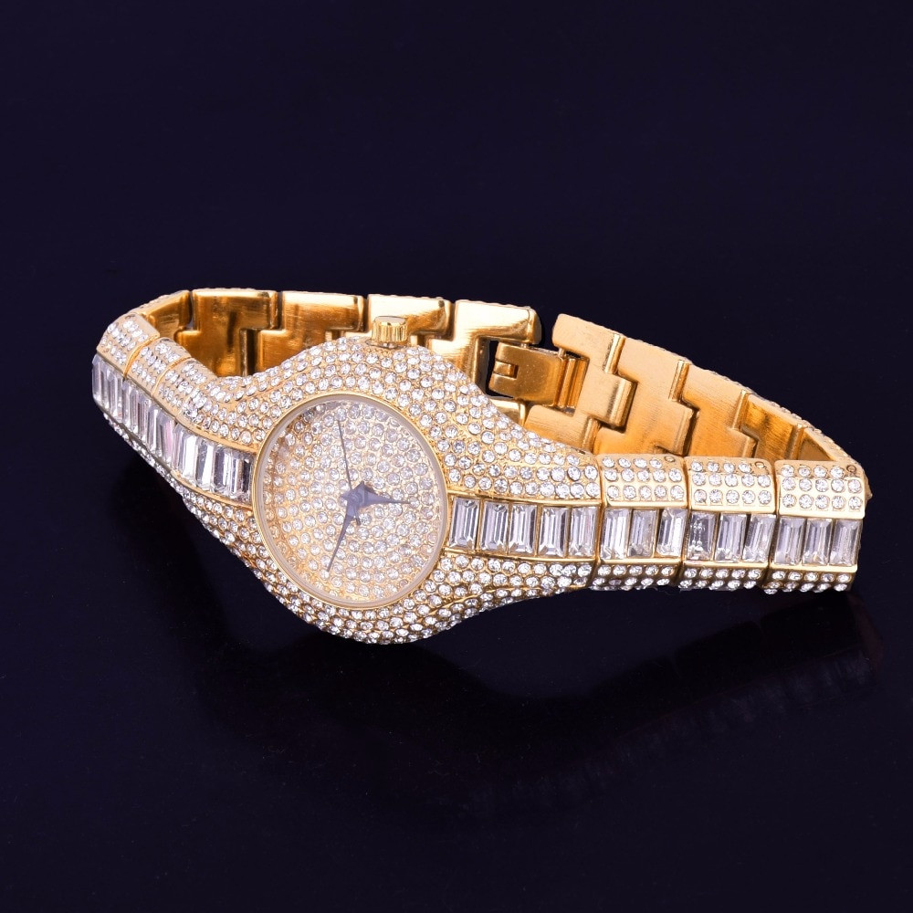 Ladies Lab Diamond Luxury Clear Baguette Iced Gold Stainless Steel Bling Watch