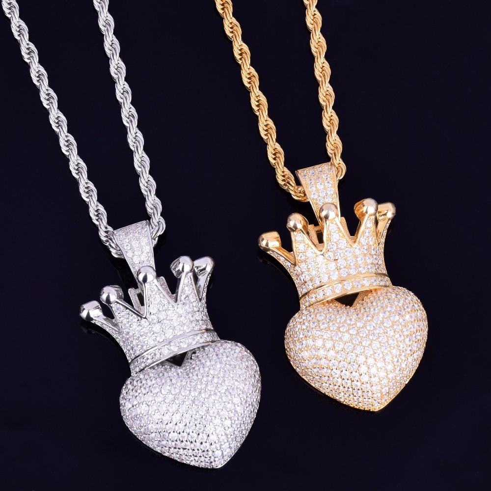 Crowned Heart 14k Rose Gold Silver Iced Pendant