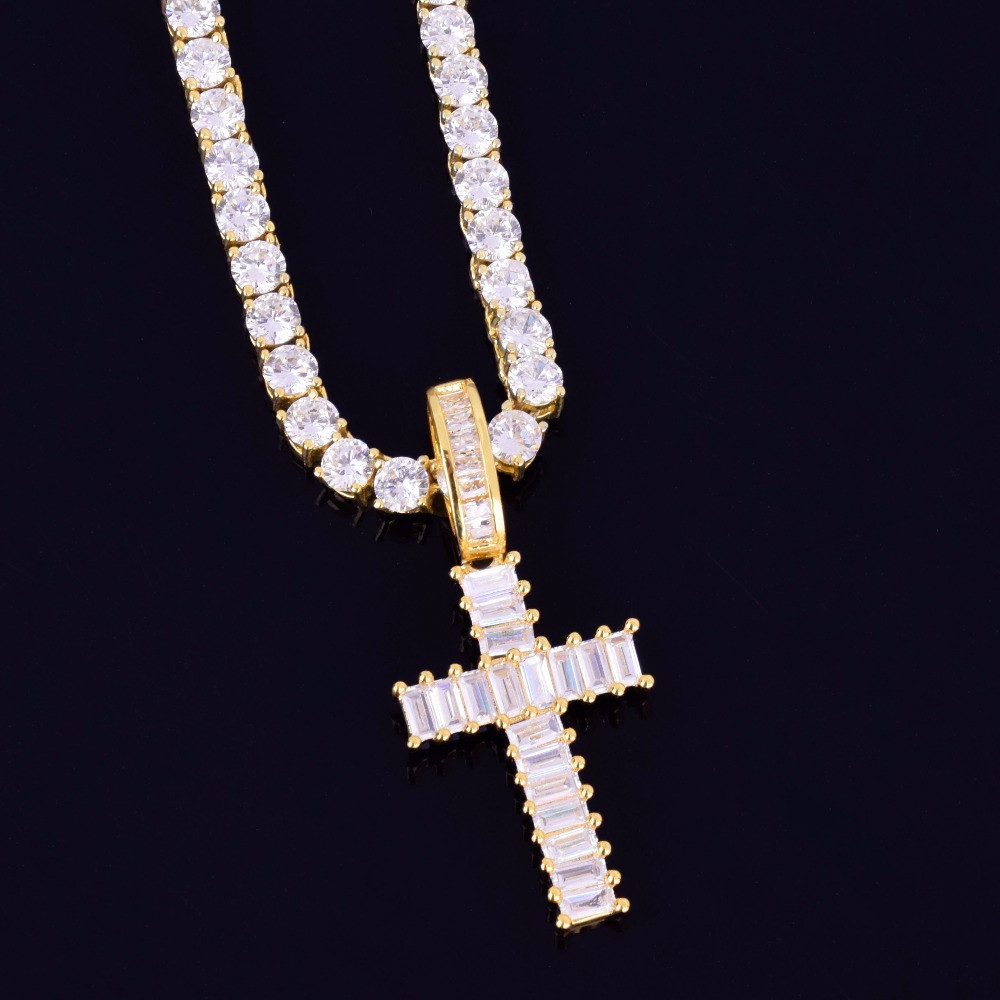 Mini Baguette 18k Gold .925 Silver Rose Gold AAA Micro Pave Cross Pendant Chain Necklace
