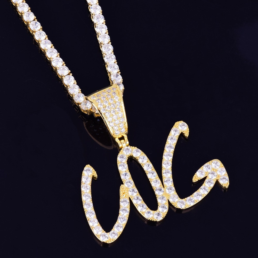 Fine Print 14k Silver Rose Gold Lab Diamond Custom Letter Hip Hop Chain Pendant