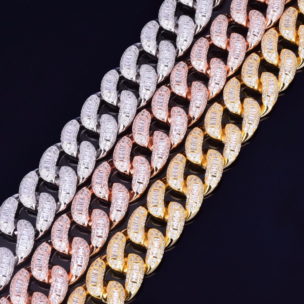 Gold Silver Rose Gold Baguette Cuban Link Chain