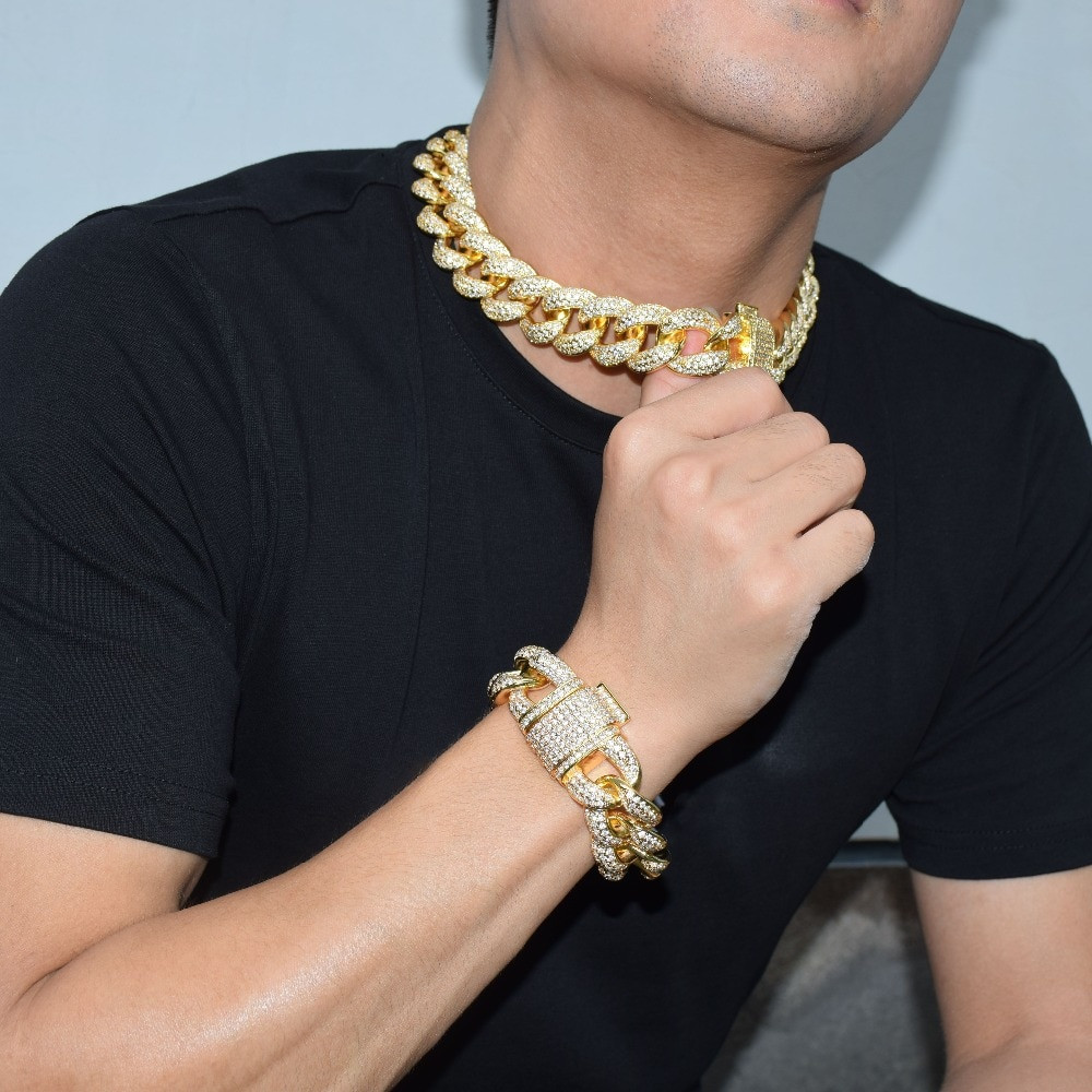 24k Gold Silver Rose Gold Micro Pave Choker Style Miami Cuban Link Bling Chain
