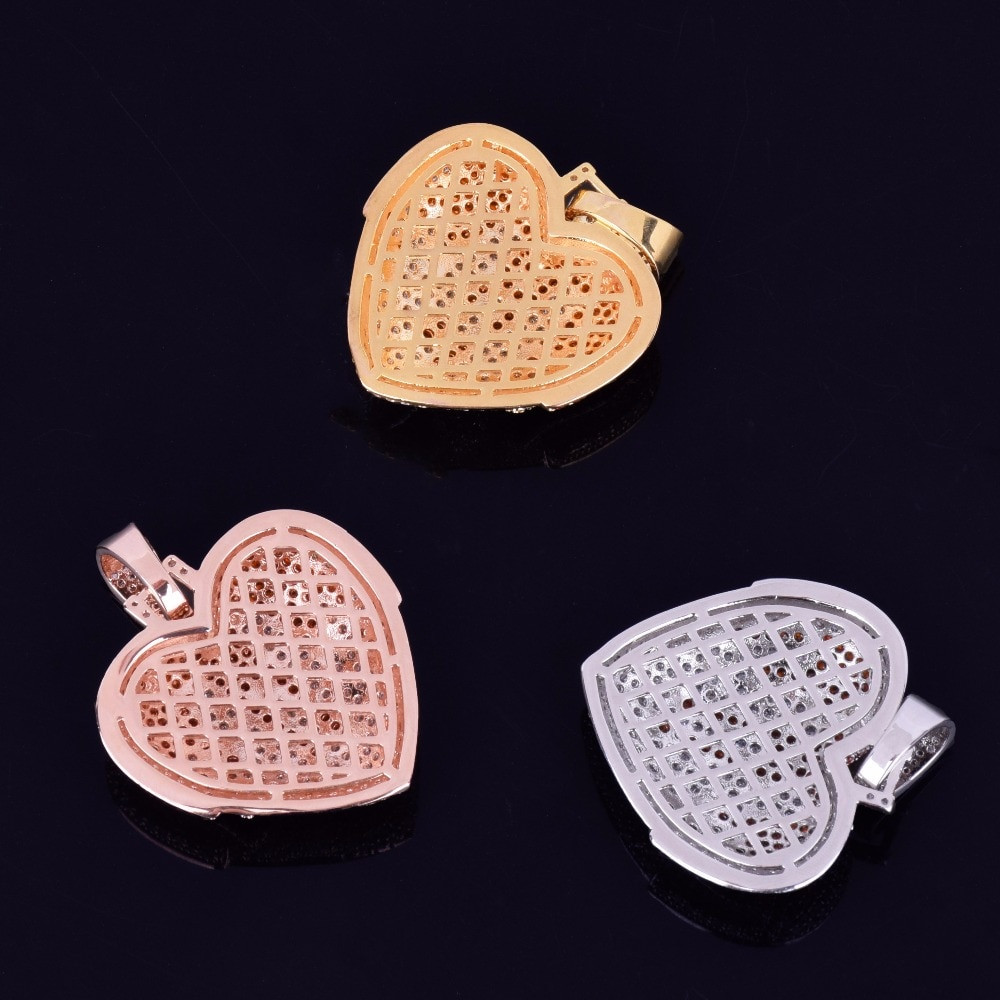 18k Rose Gold .925 Silver Blood Overflowing Heart AAA Micro Pave Hip Hop Pendant Chain Necklace