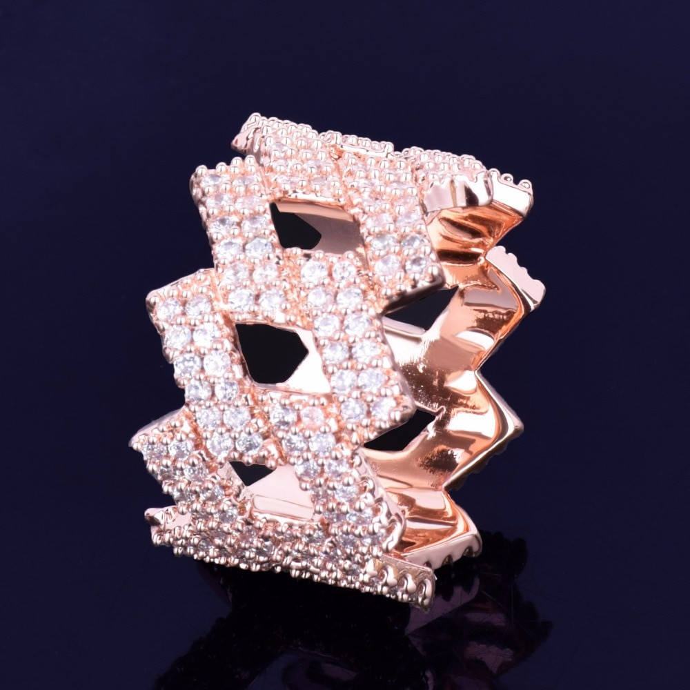 Rose Gold Cuban Link Flooded Ice Ring