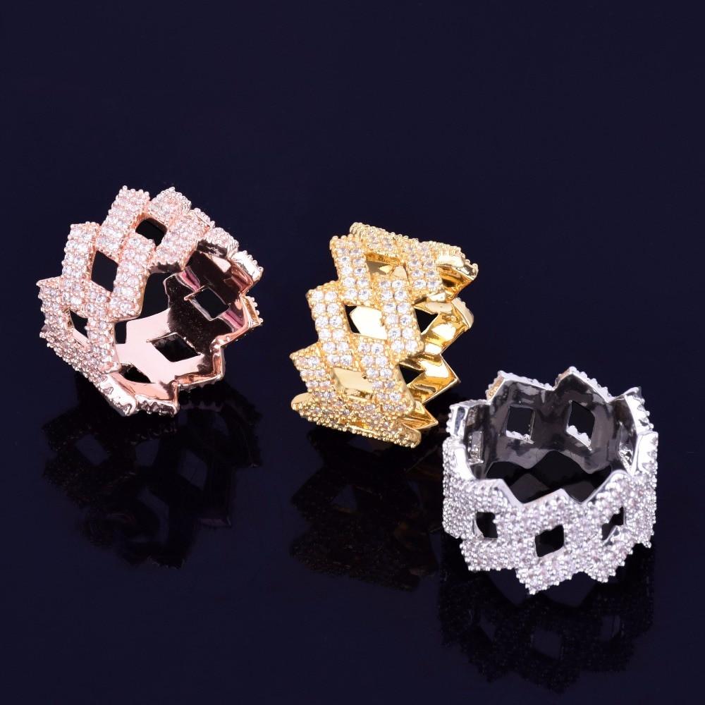 18k Gold .925 Silver Rose Gold Designer Cuban Link Rings