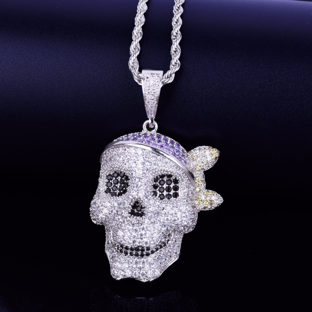 AAA Micro Pave Skull Pirate Hip Hop 14k Gold Silver Bling Pendant Chain Necklace