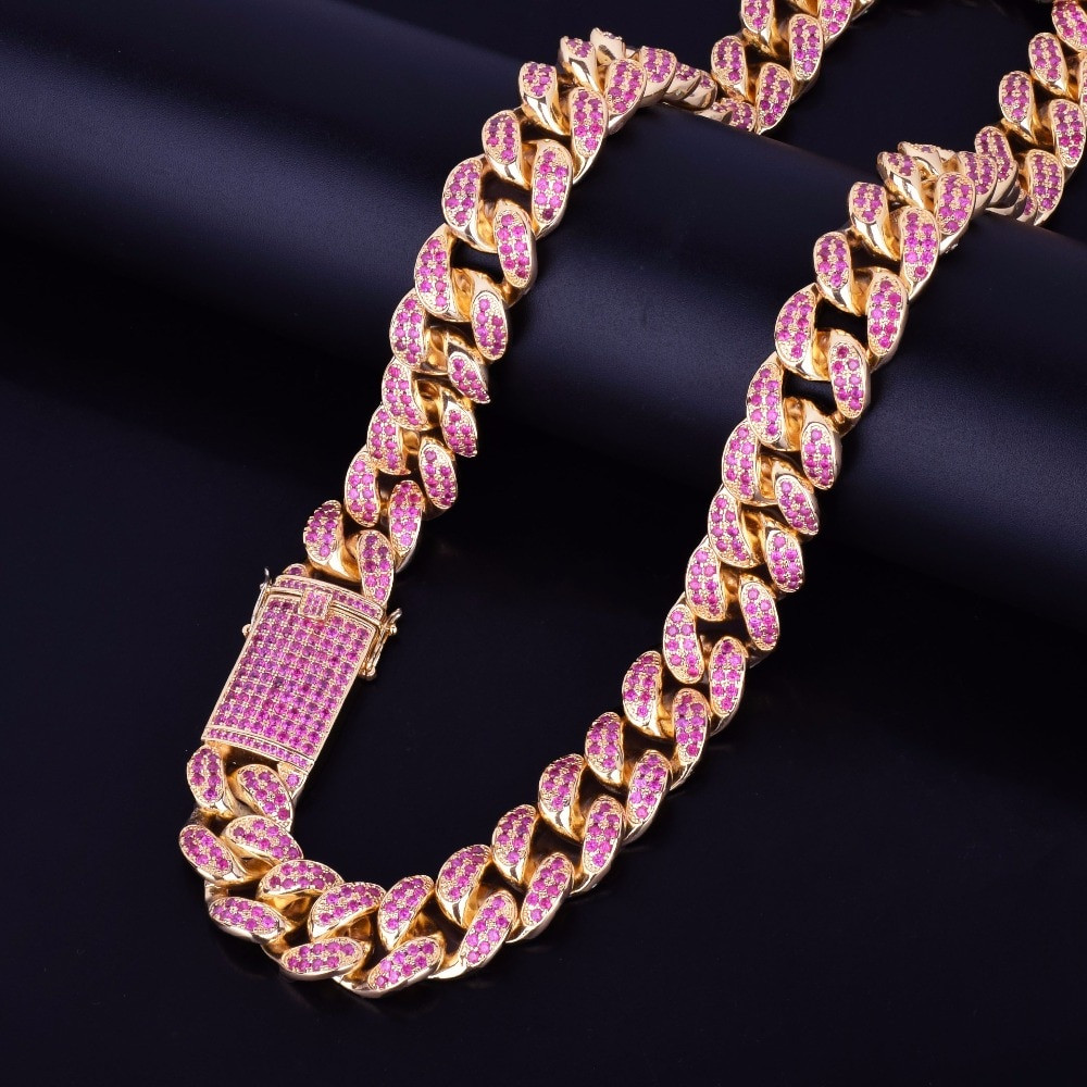 Iced Pink Flooded Ice Micro Pave Stone Miami Cuban Link Chain Necklace