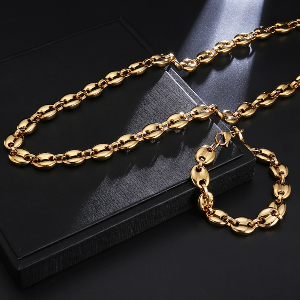 11MM G Link Coffee Beans Stainless Steel 14k Gold Silver Hip Hop Chain Bracelet Jewelry Set