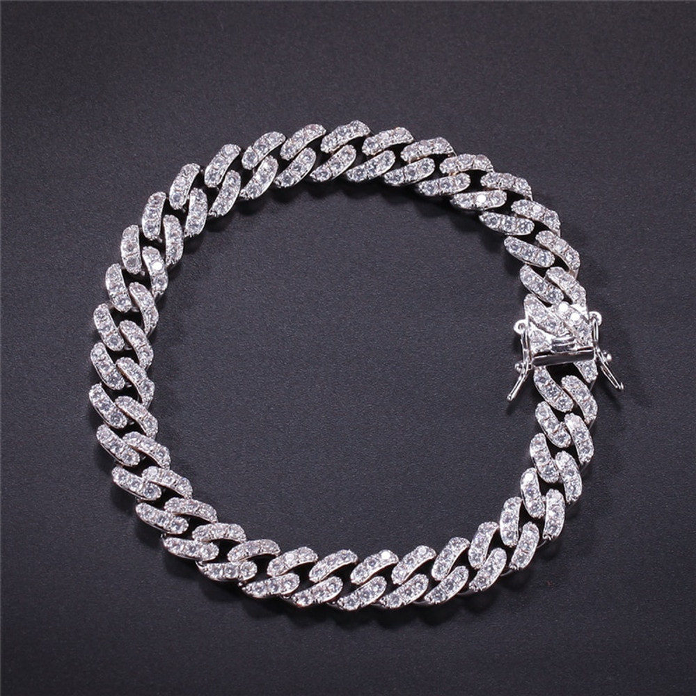 Hip Hop 10MM Iced AAA Micro Pave Stone Cuban Link 18k Gold .925 Silver Bracelet