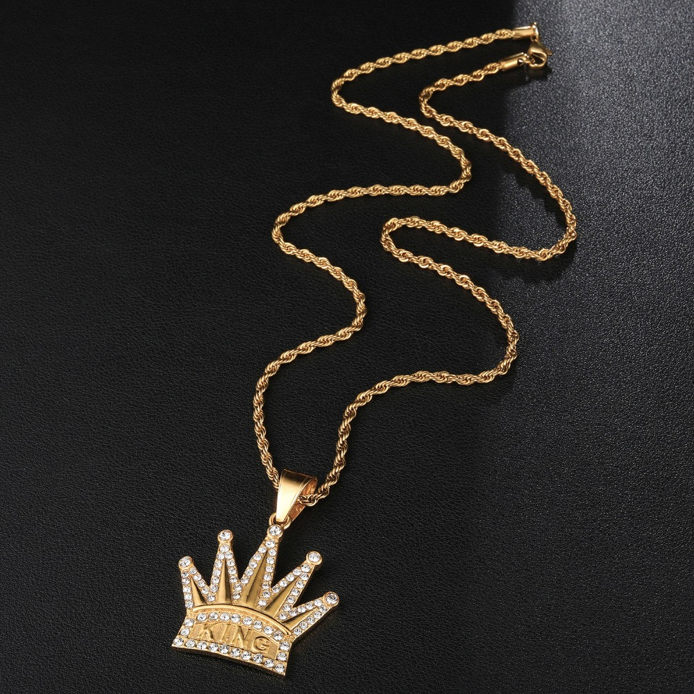 Hip Hop Full AAA Iced Bling Simulate Diamond Crown KING 14k Gold Stainless Steel Pendant
