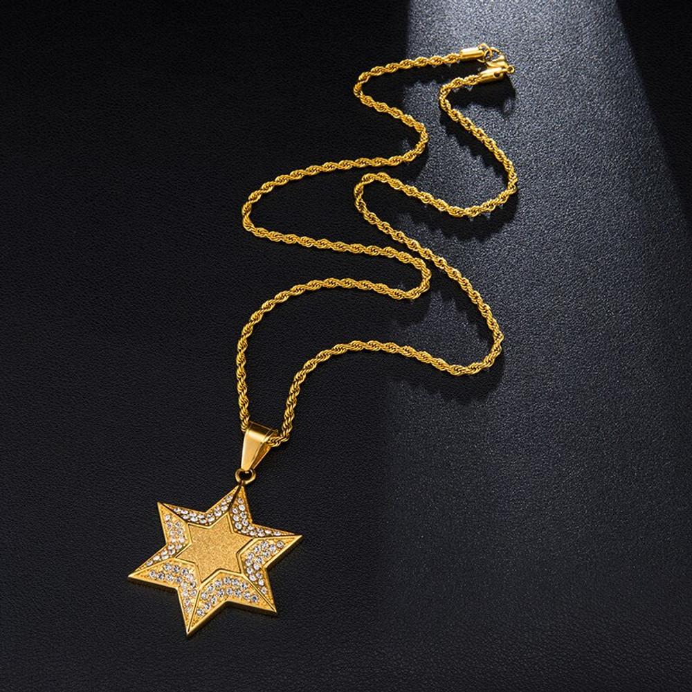 14k Gold Star Of David Chain