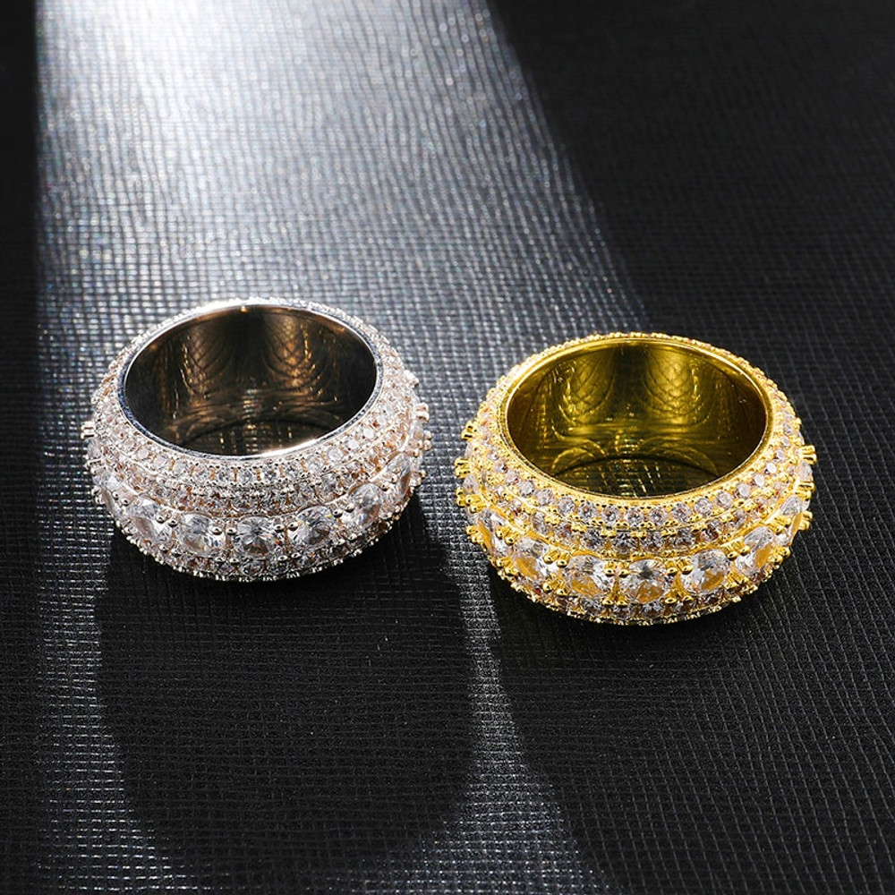 Hip Hop 5 Row Tennis Luxury Style Iced Bling Full AAA Prong Set Stone Ring