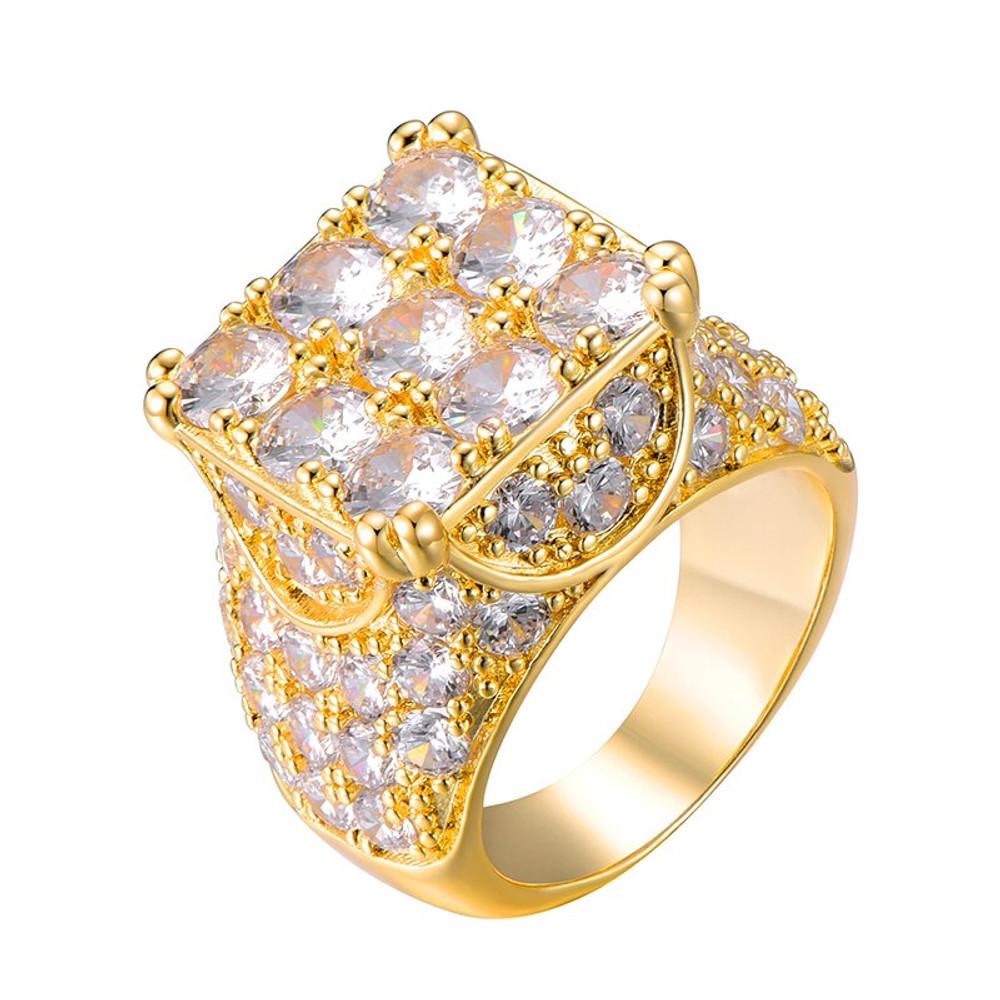 Hip Hop Full AAA Simulate Diamond 14k Gold Silver 9 Cut Bling Iced Rings