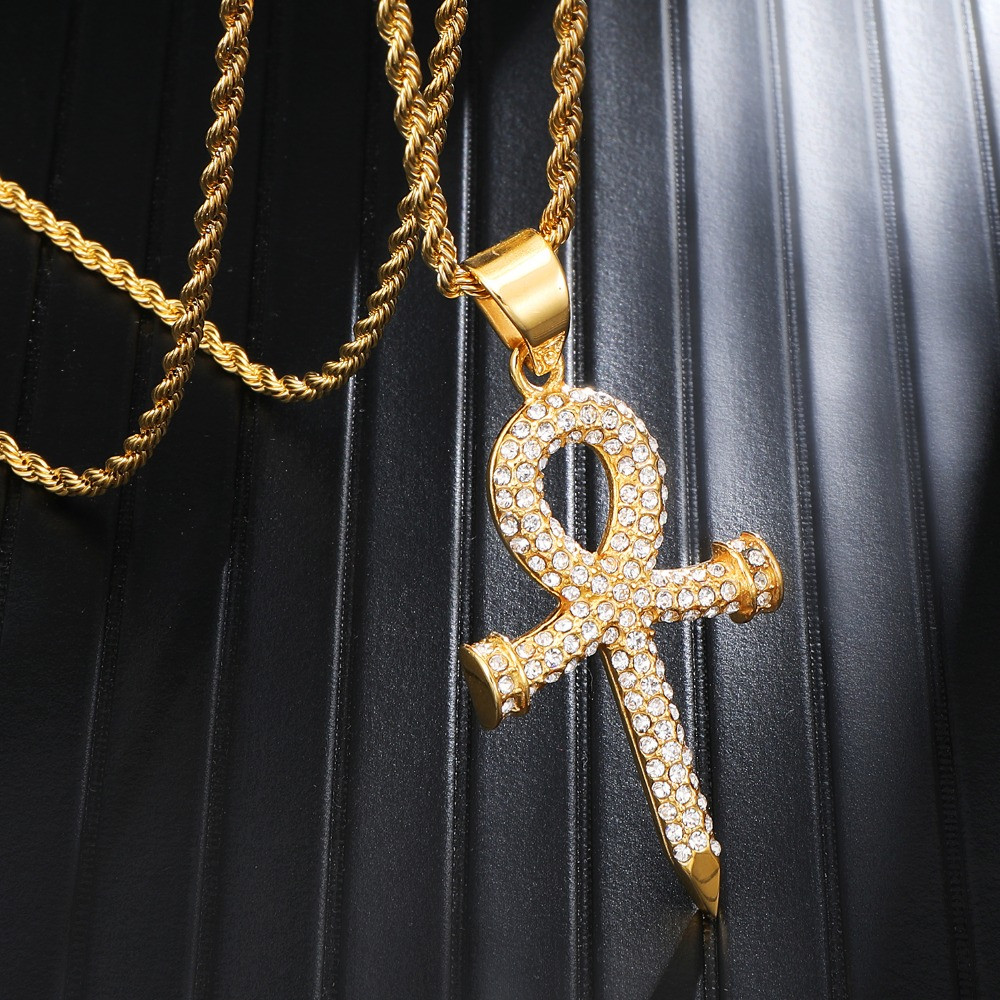 14k Gold Over Stainless Steel Key Of Life Ankh Cross Pendant Chain Necklace
