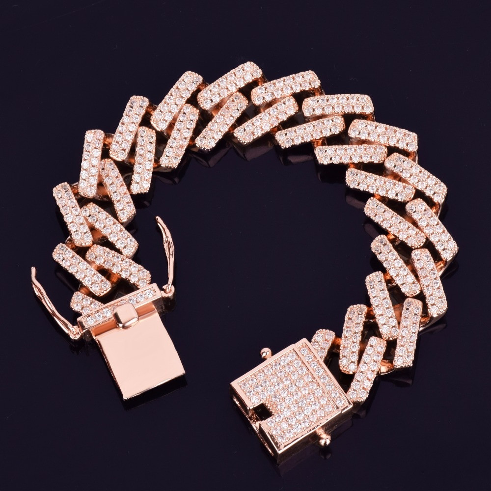 AAA Bust Down Rose Gold Miami Cuban Link Bracelet
