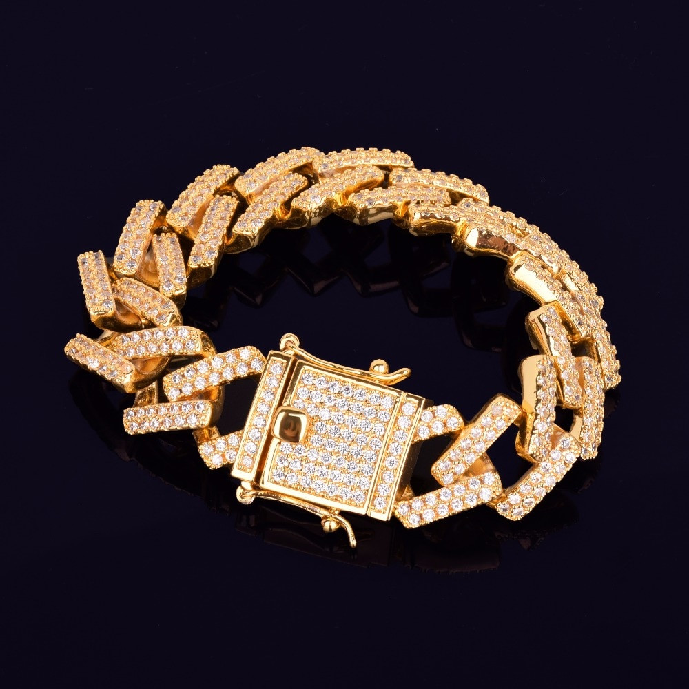 18k Gold AAA True Micro Pave Cuban Link Bracelet