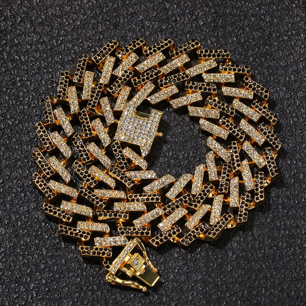 Hip Hop Full Pave AAA Stone 15MM Flooded Colored Ice Square Miami Cuban Link Chain