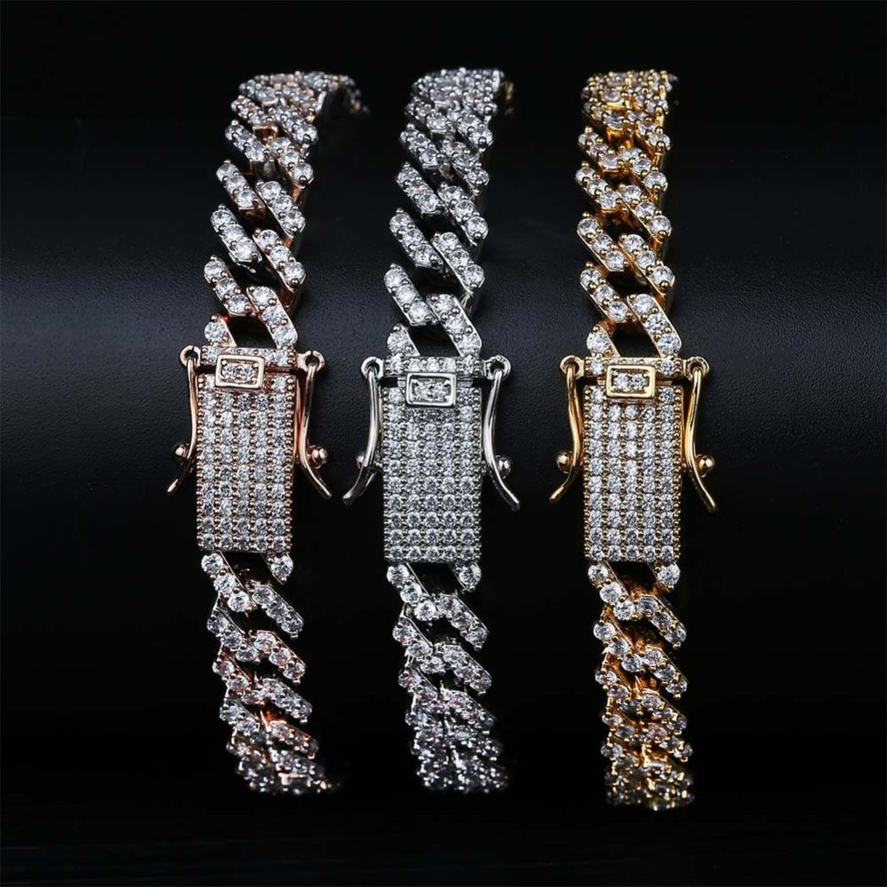 Hip Hop Slim Cut Rose Gold Silver 14k Bling AAA Micro Pave Cuban Link Bracelet
