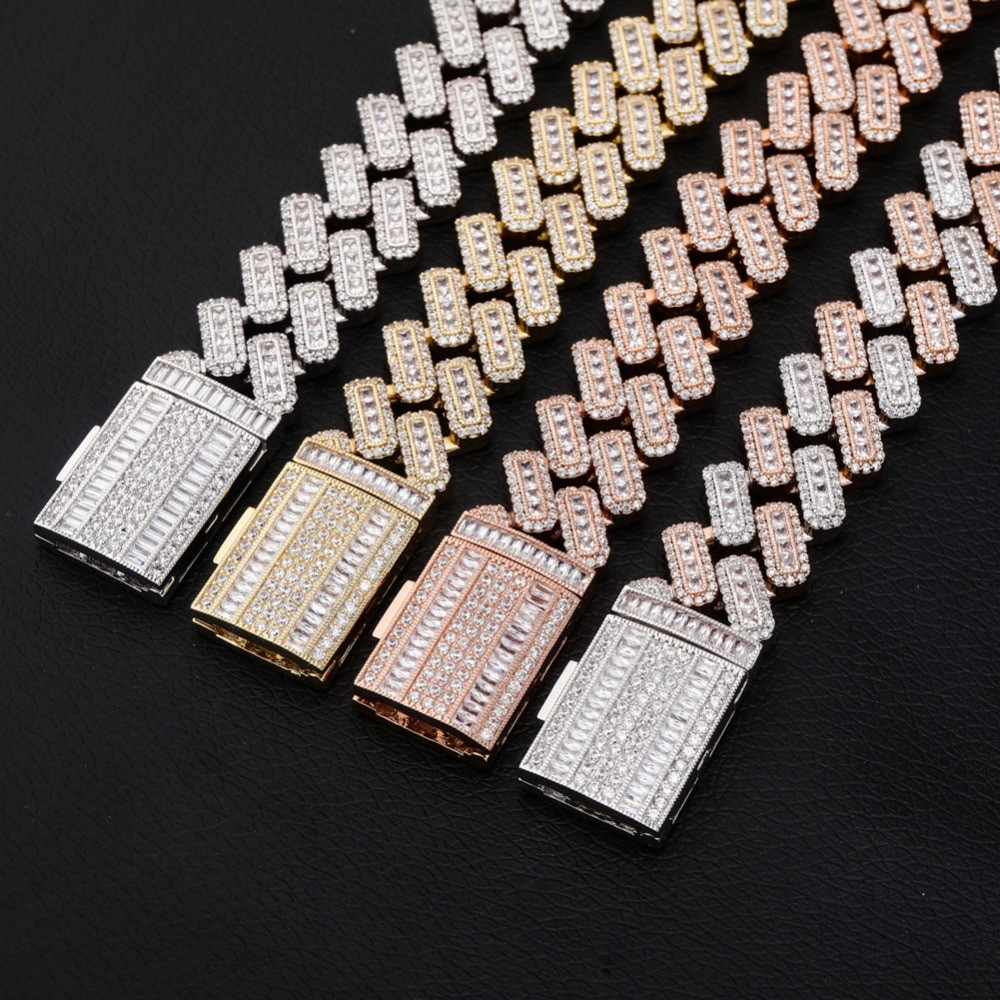 20mm Miami Cuban Link Baguette Pave Prong Set Box Clasp Hip Hop Chain Necklace