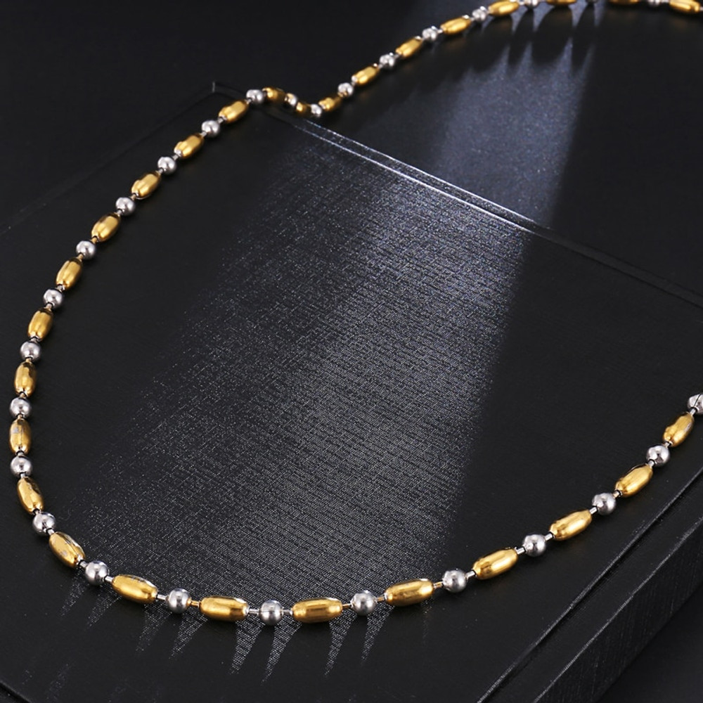 4MM 14k Gold Stainless Steel Two Tone Bead Hip Hop Chain Necklace