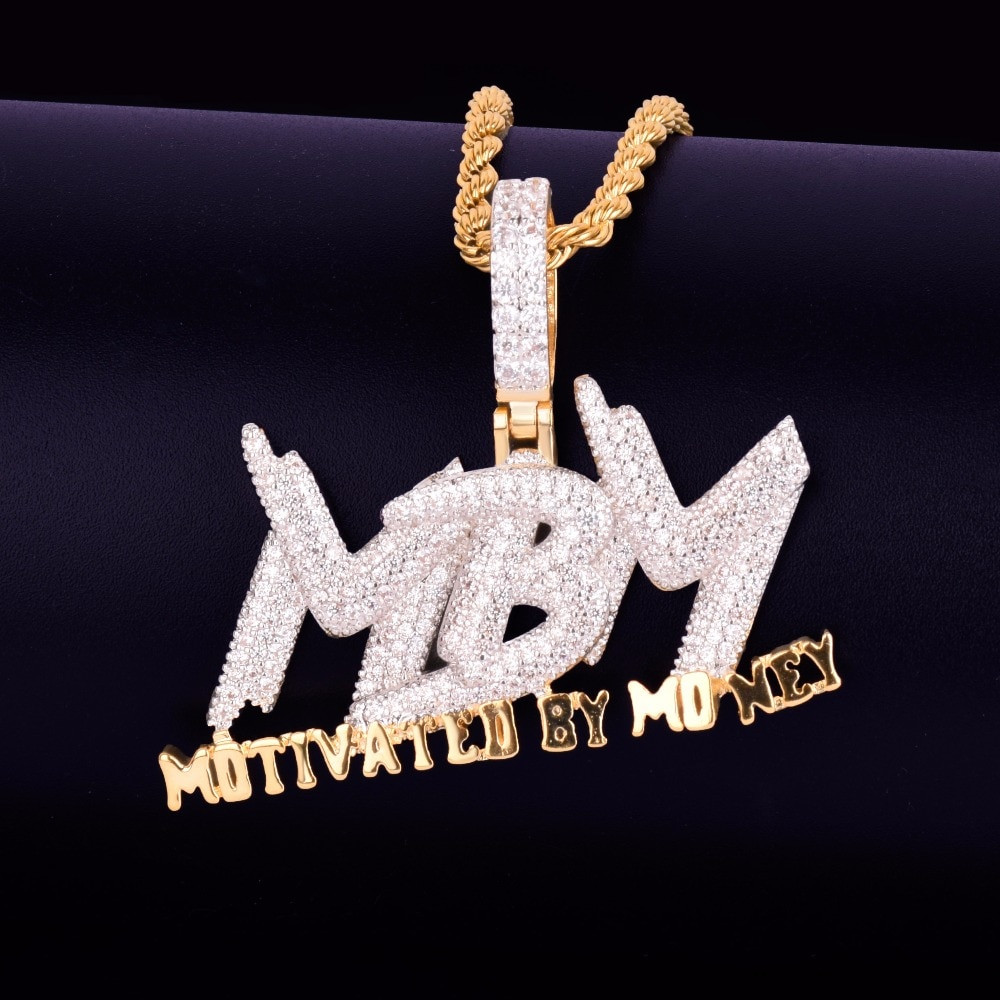 AAA True Micro Pave Motivated By Money Flooded Ice MBM 14k Gold Pendant Chain