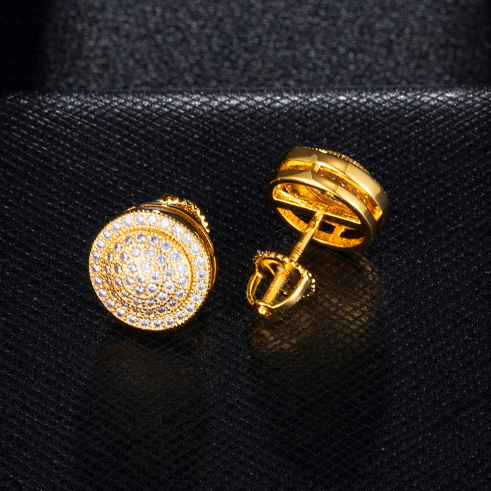 14k Gold Silver Flooded Ice AAA True Micro Pave Ice Disc Hip Hop Earrings