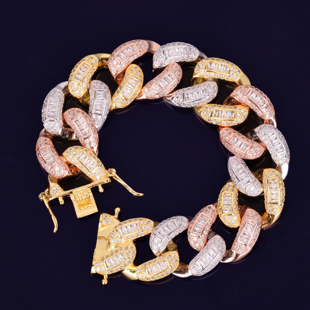 24k Gold Rose Gold Silver Flooded Ice 22mm Colorful Baguette AAA Stone Miami Cuban Link  Bracelet