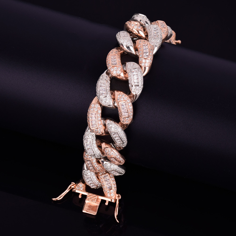 Rose Gold Silver Flooded Ice Big Boy Colorful Baguette AAA Stone Miami Cuban Link Bracelet