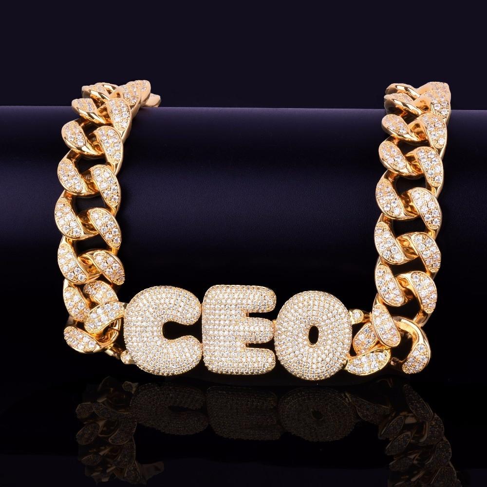 Custom Name Bubble Letters 20MM Cuban Link Street Rock Pendant Chain Necklace