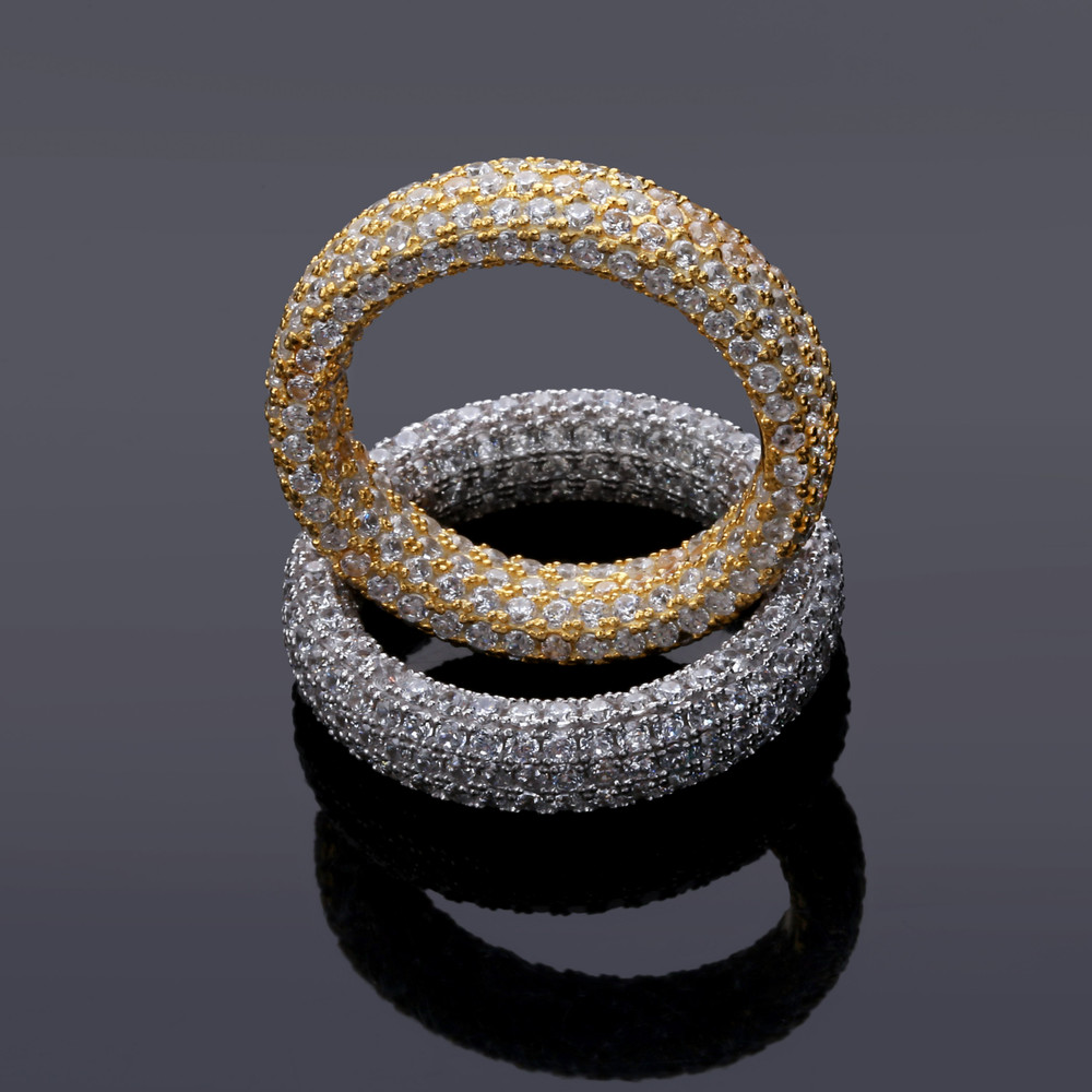 925 Sterling Silver Flooded Ice Solid Thick Circle Iced Rings