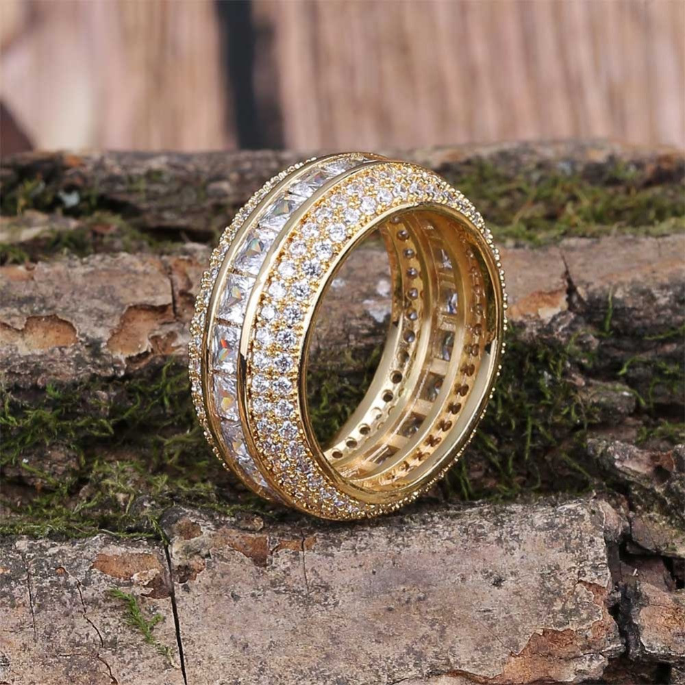 Baguette 18k Gold Silver AAA True Micro Pave Flooded Ice Ring